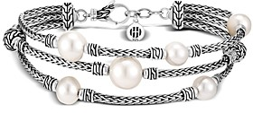 John Hardy Sterling Silver Classic Chain Cultured Freshwater Pearl Triple-Row Bracelet