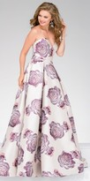 Jovani Crystalized Box Pleated Floral Print Ball Gown