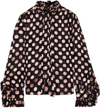 Zimmermann Unbridled Tie-neck Polka-dot Fil Coupe Silk Blouse