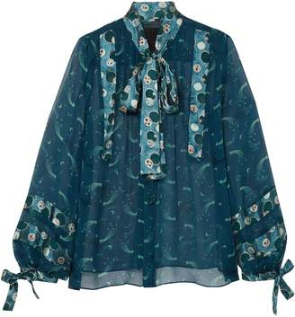 Anna Sui Cosmos Pussy-bow Crinkled-chiffon Blouse