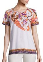 Etro Floral Paisley Embroidered Stretch-Cotton Tee
