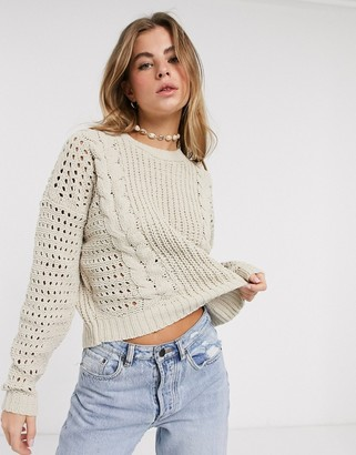 Hollister open stitch cable chenille sweater