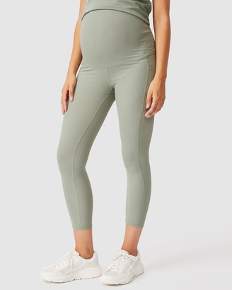 Cotton On Body Active - Women's Green Tights - Maternity Rib Pocket 7-8 Tights - Size XS at The Iconic
