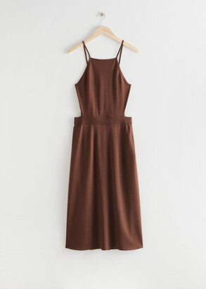 And other stories Ribbed Cut Out Midi Dress