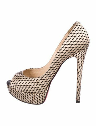 Christian Louboutin Peep-Toe Platform Pumps Tan