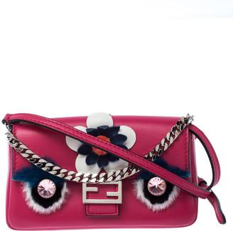 Fendi Magenta Leather and Fur Trim Micro Buggie Baguette Shoulder Bag