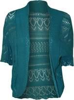 FashionMark Women's Plus Size Crochet Knitted Short Sleeve Cardigan (Pink)