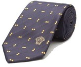 Versace Men's Medusa Logo Polka Dot Pattern Silk Neck Tie Navy/gold.