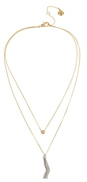 AllSaints Two-Tone Hexagon & Chain Tassel Layered Necklace, 15-17