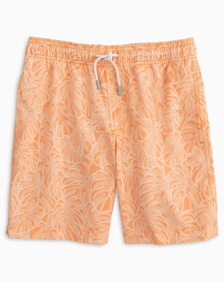 Southern Tide Boys Tonal Palm Print Swim Trunk