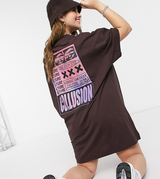 Collusion Plus exclusive short sleeve t-shirt dress in culture print in dark brown