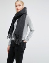 Cheap Monday Oversized Knitted Scarf with Tassels in Black
