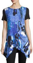 Neiman Marcus Short-Sleeve Printed-Front Handkerchief-Hem Tunic, Blue
