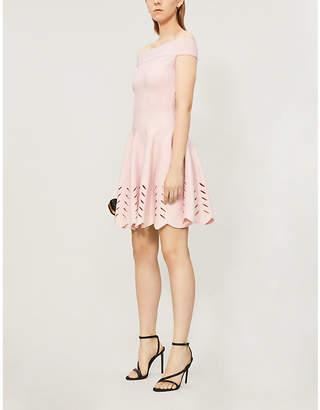 Alexander McQueen Off-the-shoulder woven mini dress