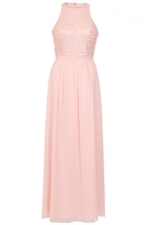 Quiz Peach Chiffon Pearl High Neck Maxi Dress