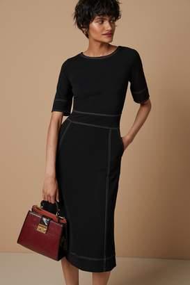 Next Womens Black Ponte Midi Dress - Black