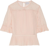 Tanya Taylor Zohara pleated lace-paneled silk top