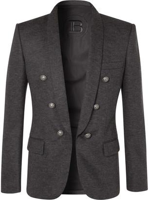 Balmain Slim-Fit Melange Wool-Blend Blazer - Men - Gray
