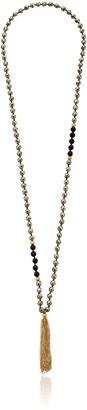 Satya Jewelry Pyrite and Black Onyx Mala Strand Necklace