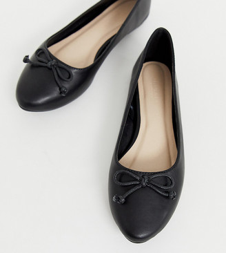 Truffle Collection wide fit easy ballet flats-Black
