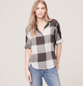 LOFT Plaid Dolman Softened shirt