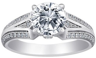 Micropave Online Majestic Sterling Silver Solitaire CZ Vintage Inspired Ring