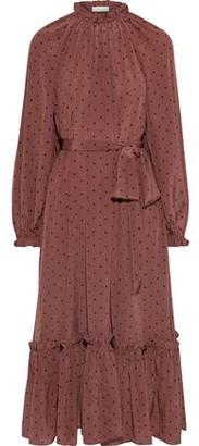 Zimmermann Ninety-six Swing Belted Polka-dot Silk Crepe De Chine Midi Dress