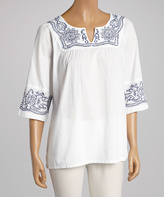 La Cera White & Navy Floral Embroidered Notch Neck Tunic - Plus Too