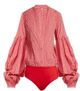 JOHANNA ORTIZ Jucarilla balloon-sleeve cotton-gingham bodysuit