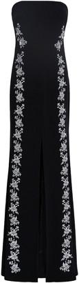 Cinq à Sept Eva Strapless Embroidered Crepe Maxi Dress