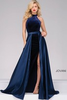 Jovani Velvet Dress with Satin Overlay Skirt 45182