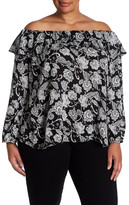 Hip Off-the-Shoulder Printed Long Sleeve Shirt (Plus Size)