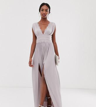Asos Tall DESIGN Tall Premium Lace Insert Pleated Maxi Dress-Pink