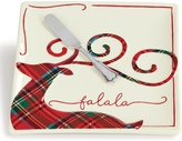 Mud Pie Holiday Tartan Reindeer Cheese Plate with Spreader