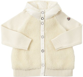 Moncler Hooded Wool & Nylon Knit Jacket
