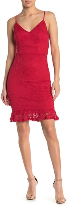 Love, Nickie Lew Lace Ruffle Hem Dress