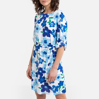 Benetton Flared Floral Mini Dress with Tie-Waist and Short Sleeves