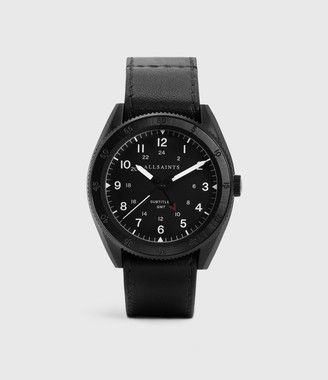 AllSaints Subtitled GMT III Black Stainless Steel and Leather Watch