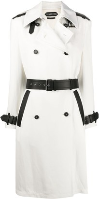 Tom Ford Stripe Detail Double Breasted Coat