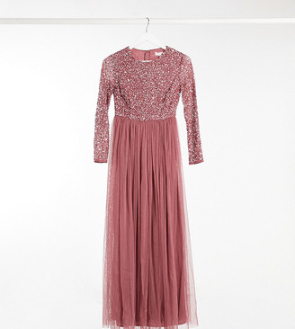 Maya Petite delicate sequin long sleeve maxi dress with tulle skirt in rose