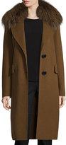 Derek Lam Wool-Blend Coat w/ Fox Fur, Spice
