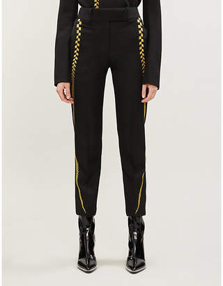 Haider Ackermann Tailored-fit tapered metallic-embroidery wool trousers