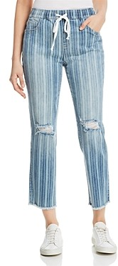 BILLY T Tie-Waist Striped Ankle Jeans in Blue Barcode