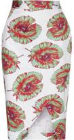 Altuzarra Wilcox Printed Cotton-blend Wrap-effect Skirt - White
