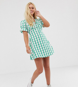 Wednesday's Girl mini tea dress with tie front in grid check-Green
