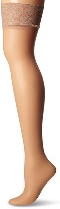 iCollection Women's Plus-Size Sheer Thigh Highs with Lace Top