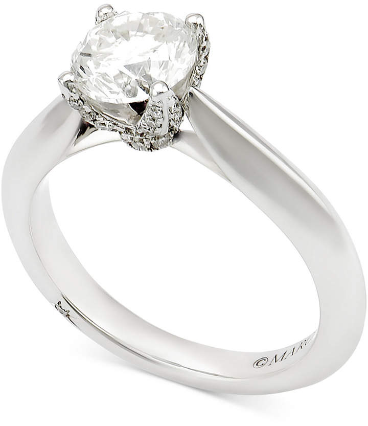 Marchesa Certified Diamond Engagement Ring (1-5/8 ct. t.w.) in 18k White Gold