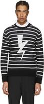 Neil Barrett Black Striped Thunderbolt Pullover