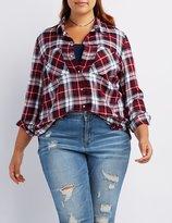 Charlotte Russe Plus Size Plaid Button-Up Shirt