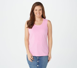 Denim & Co. Textured Knit Scoop Neck Tank with Twisted Back Detail